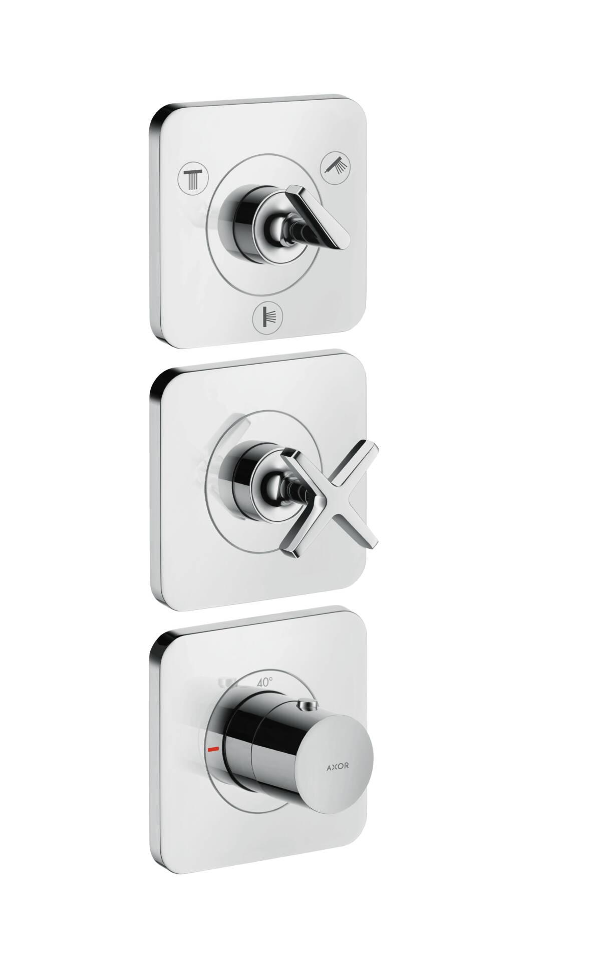 Módulo de termostato con llave de paso e inversor Quattro para 3 salidas, color oro cepillado, 36704250