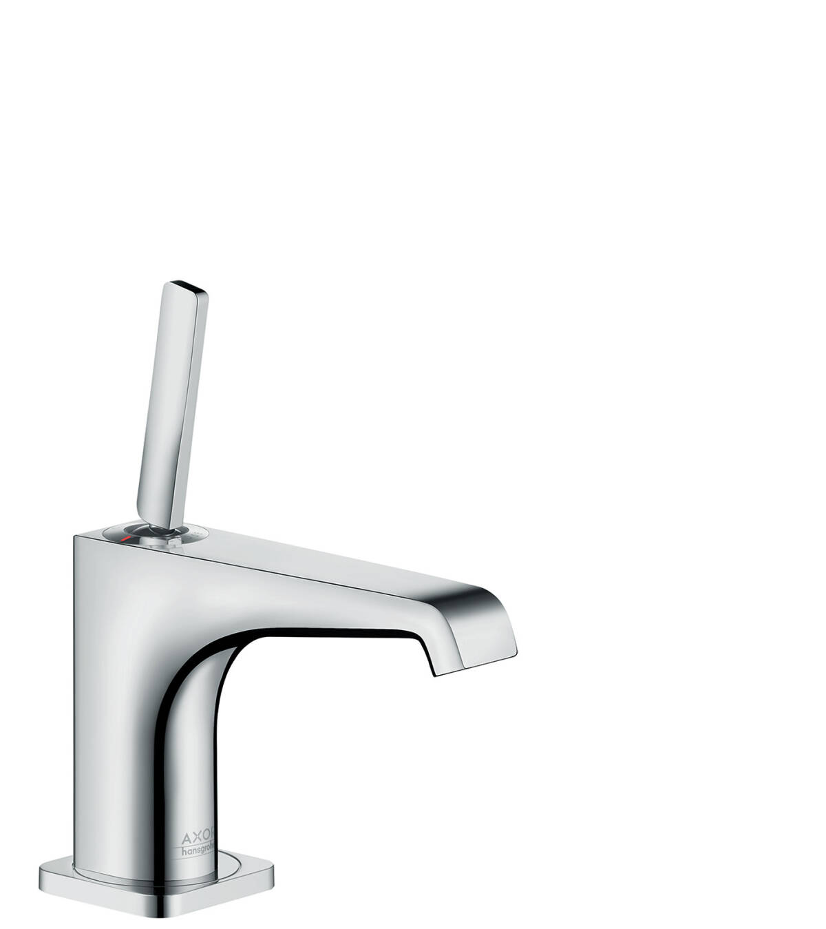 Single lever basin mixer 90 with pin handle for hand washbasins with waste set, Brushed Nickel, 36102820