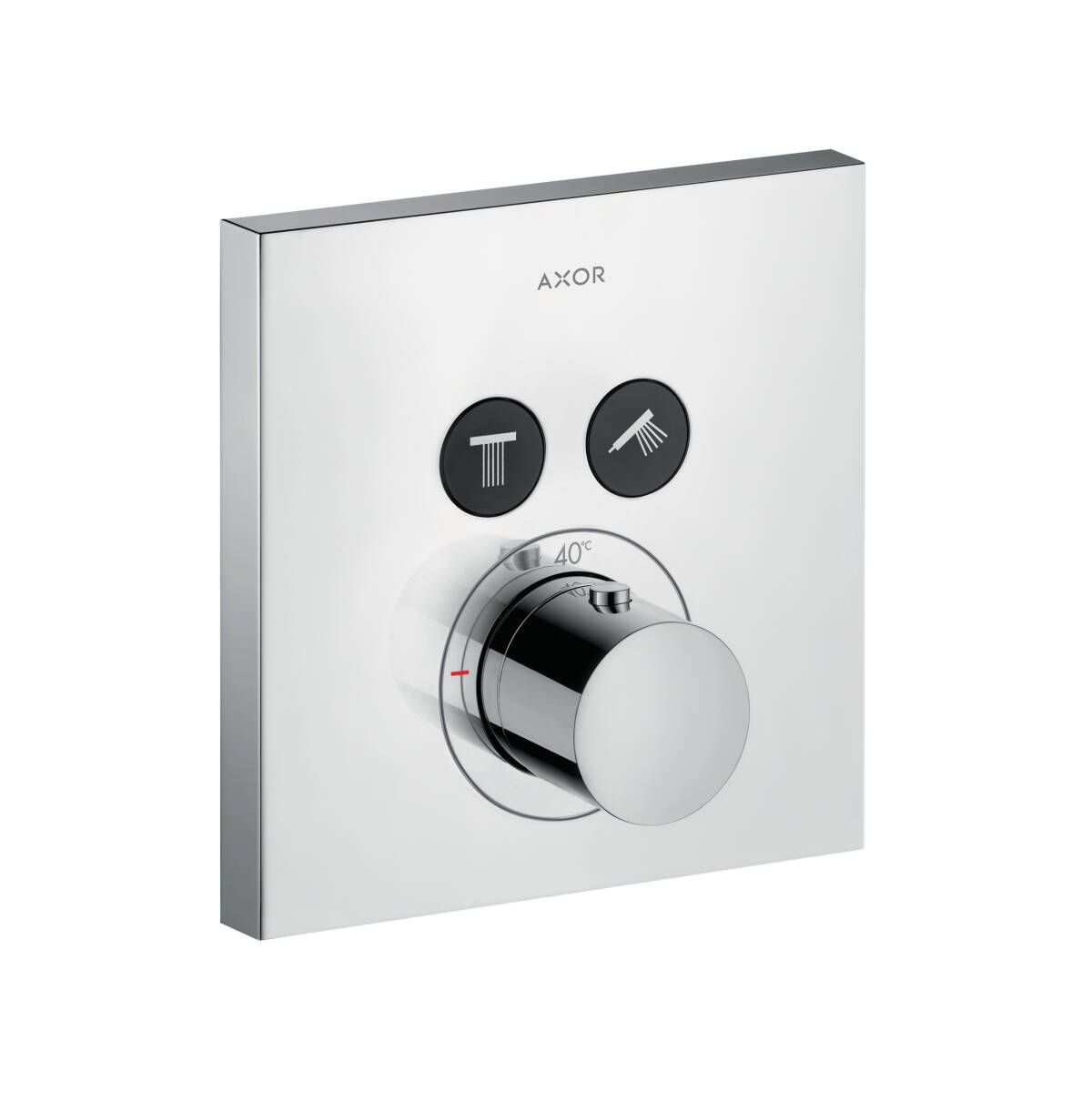 Thermostat for concealed installation square for 2 functions, Chrome, 36715000