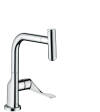 Single lever kitchen mixer with pull-out spout