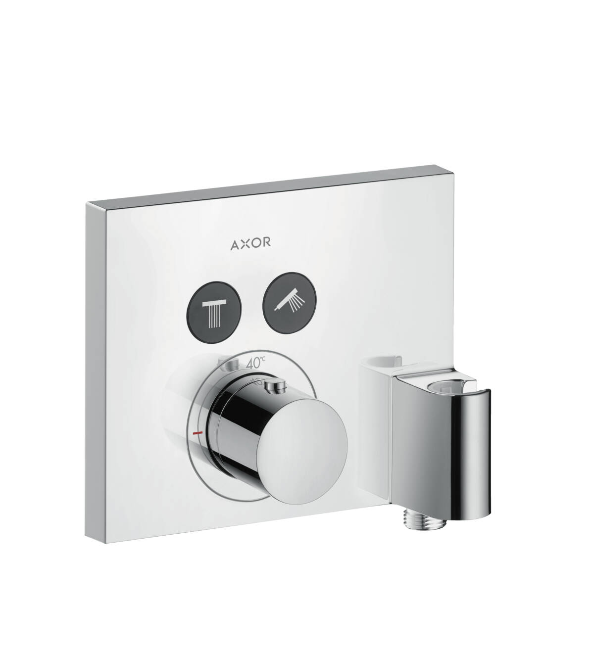 Thermostat for concealed installation square for 2 functions with wall outlet and shower holder, Chrome, 36712000