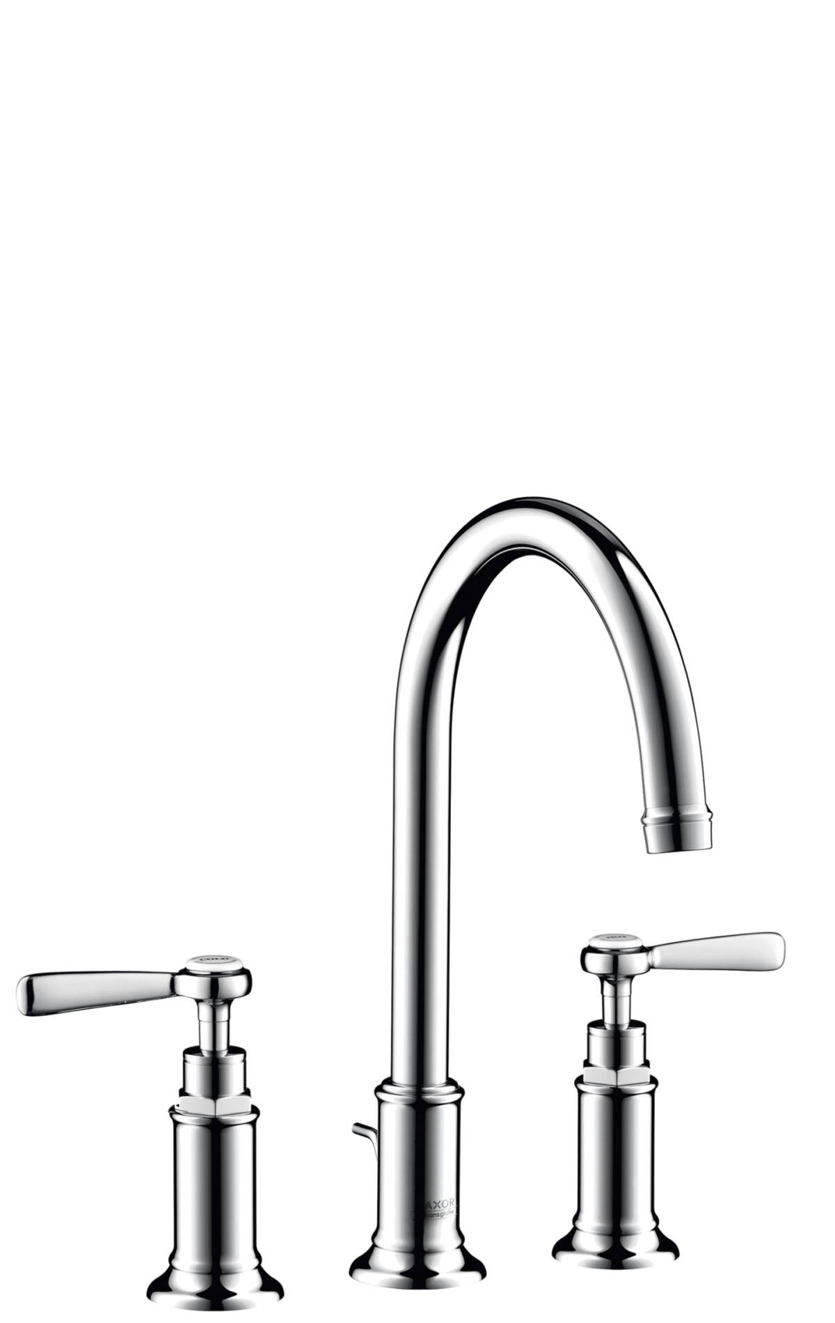 3-hole basin mixer 180 with lever handles and pop-up waste set, Brushed Chrome, 16514260