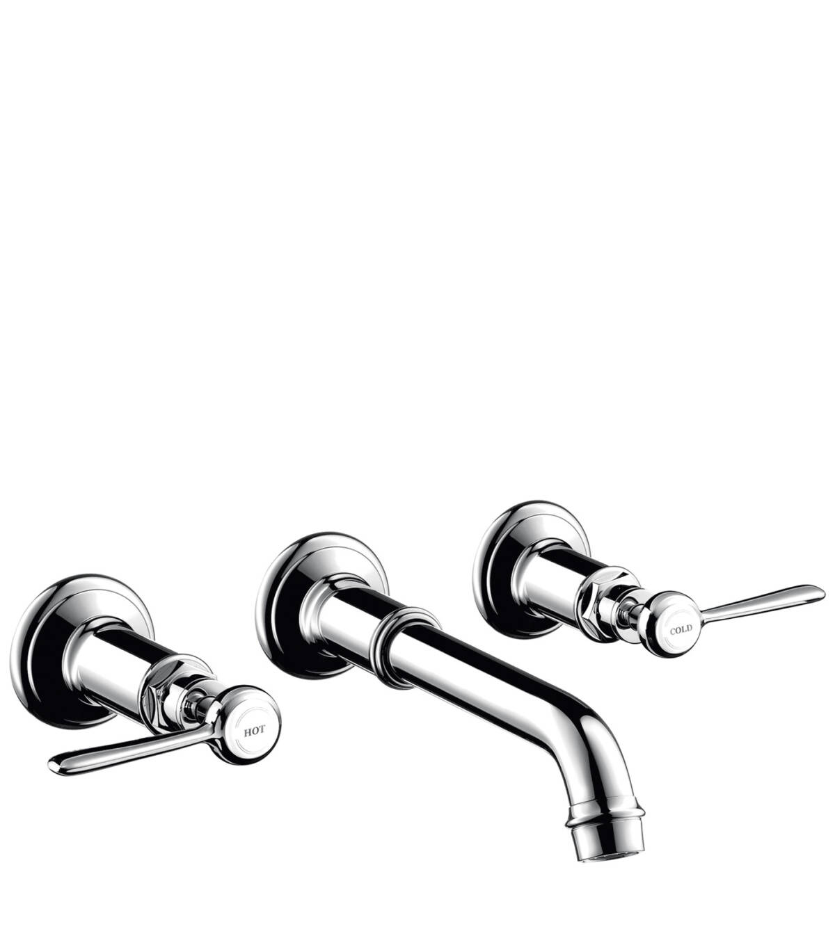 3-hole basin mixer for concealed installation wall-mounted with spout 165 - 225 mm and lever handles, Chrome, 16534000