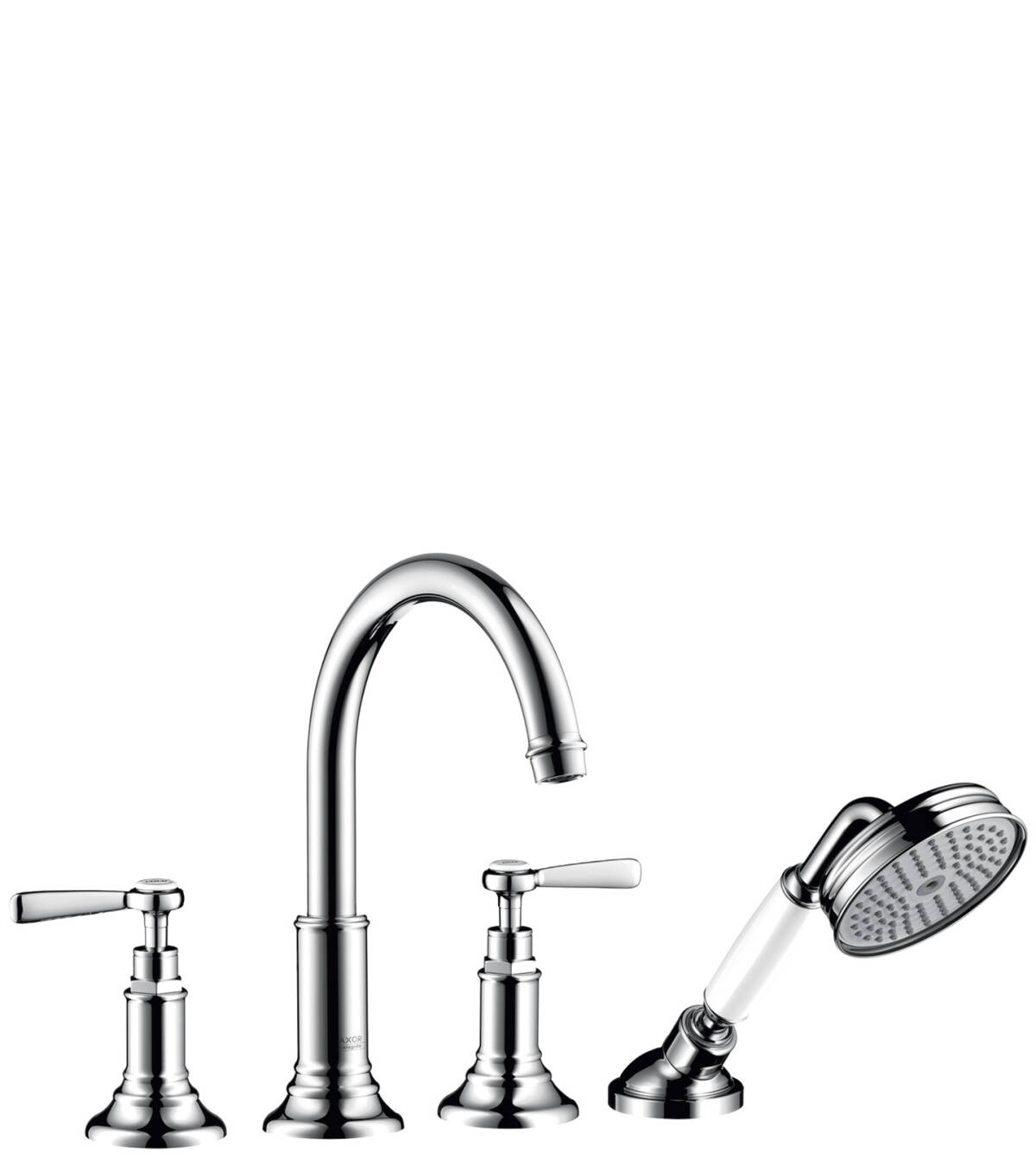 4-hole rim mounted bath mixer with lever handles, Brushed Chrome, 16550260