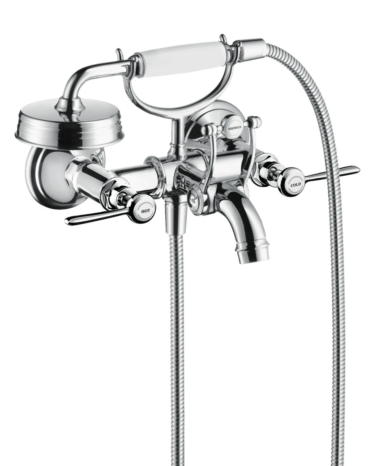 2-handle bath mixer for exposed installation with lever handles, Chrome, 16551000