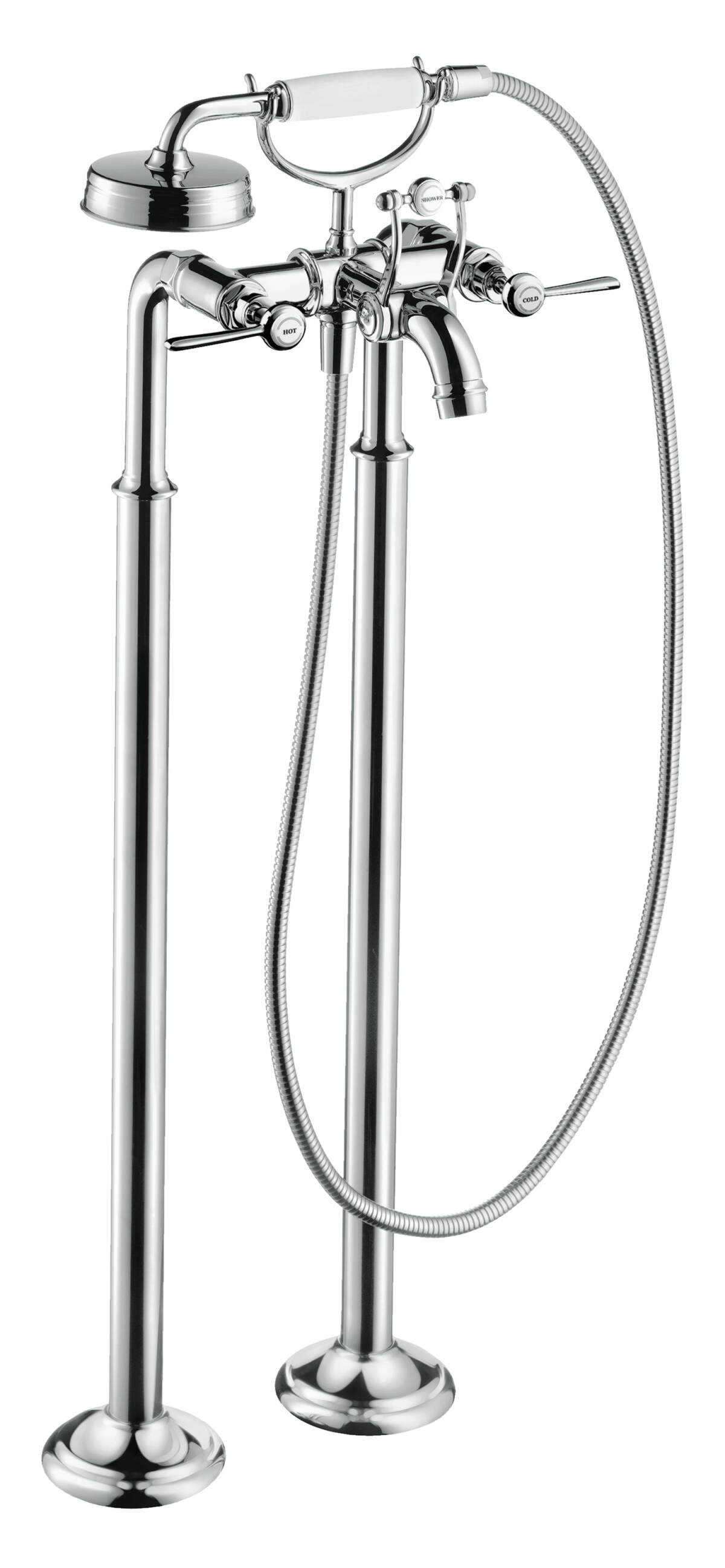 2-handle bath mixer floor-standing with lever handles, Chrome, 16553000