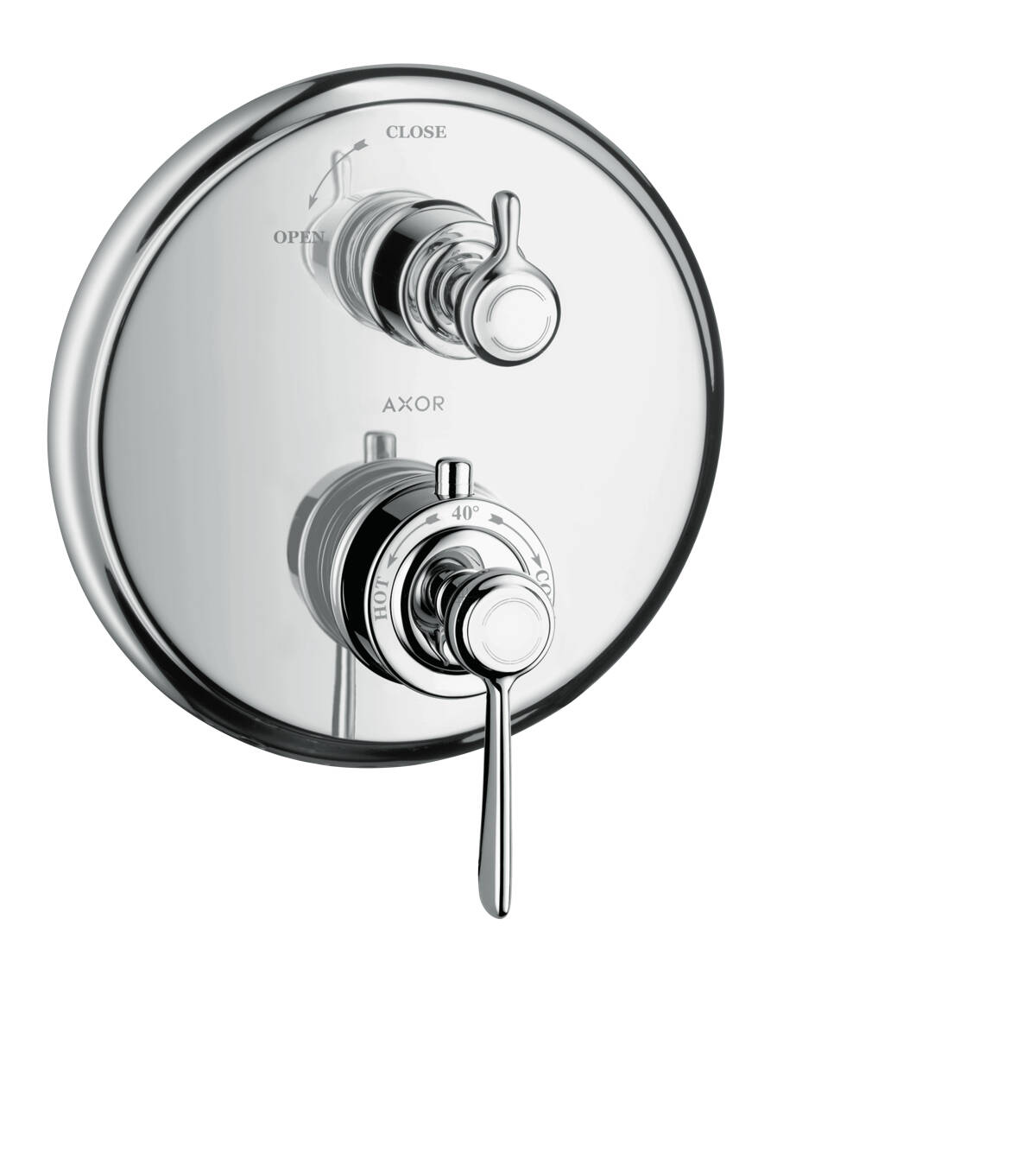 Thermostat for concealed installation with lever handle and shut-off valve, Brushed Gold Optic, 16801250