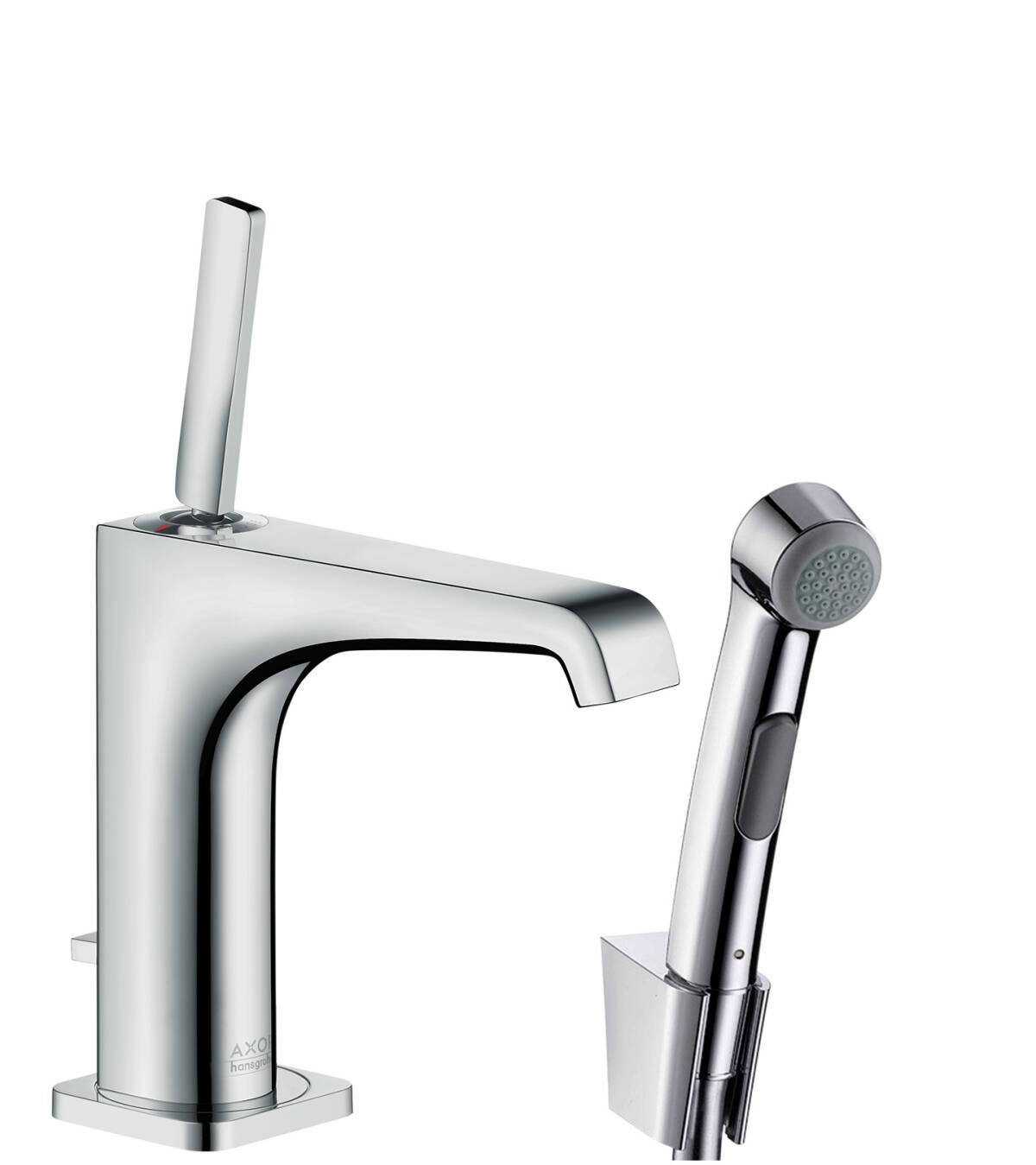 Bidette Set 1jet hand shower/ Axor Citterio E single lever basin mixer, Polished Black Chrome, 36130330