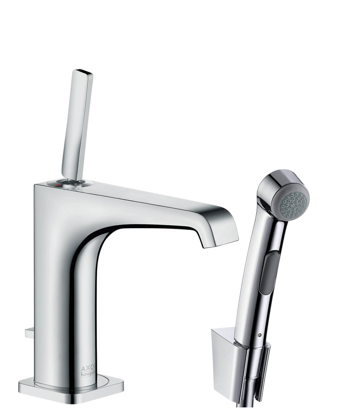 Single lever basin mixer 130 with bidette hand shower and shower hose 1.60 m, Chrome, 36130000