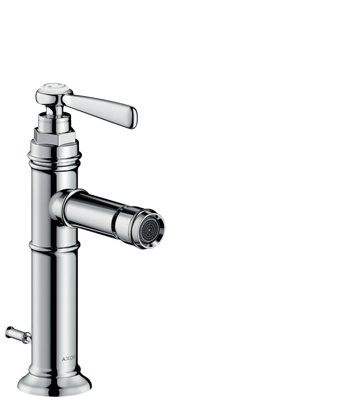 Single lever bidet mixer with lever handle and pop-up waste set, Stainless Steel Optic, 16526800