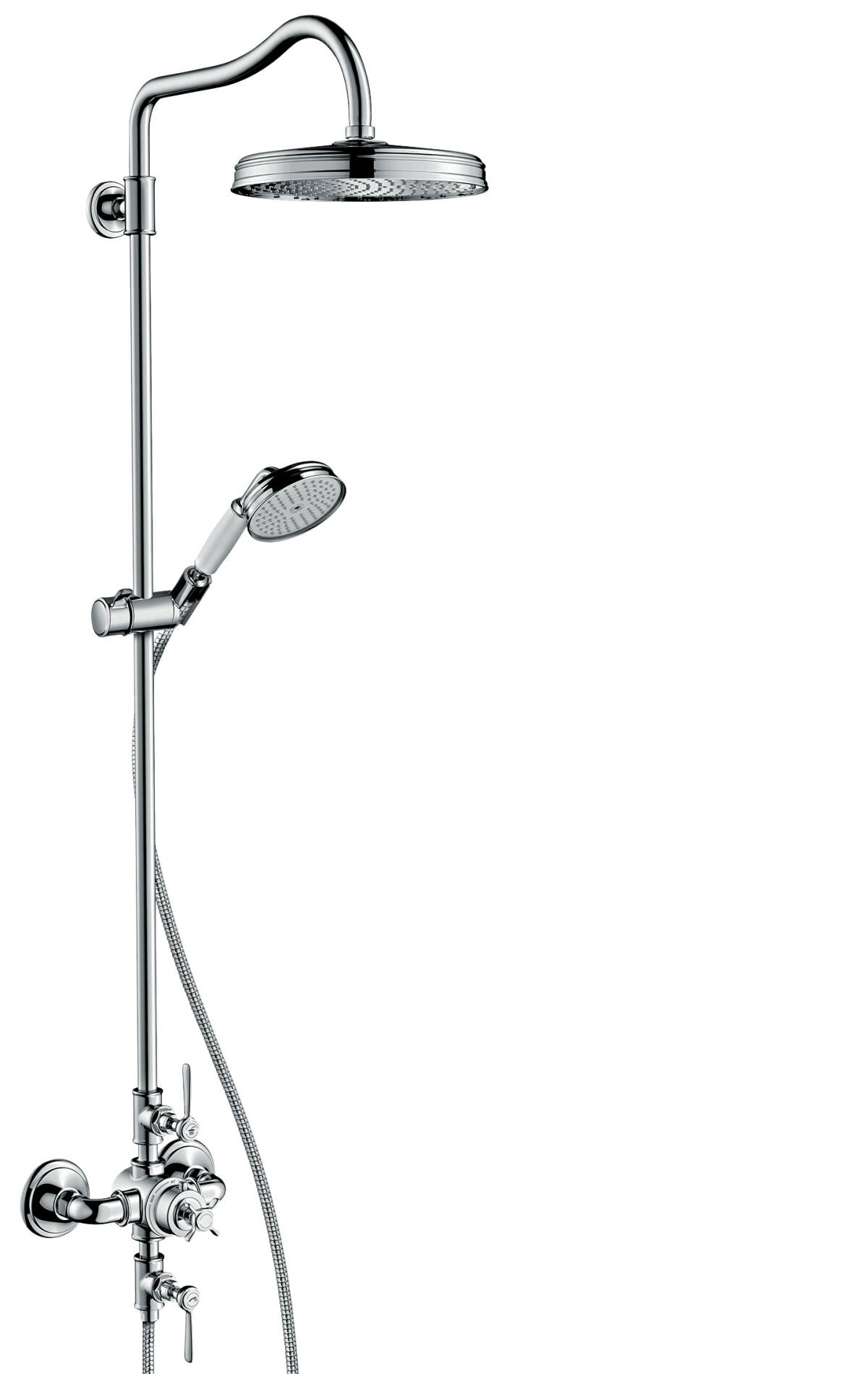 Showerpipe with thermostat and overhead shower 240 1jet, Brushed Black Chrome, 16572340