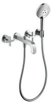 3-hole bath mixer for concealed installation wall-mounted with cross handles and escutcheons