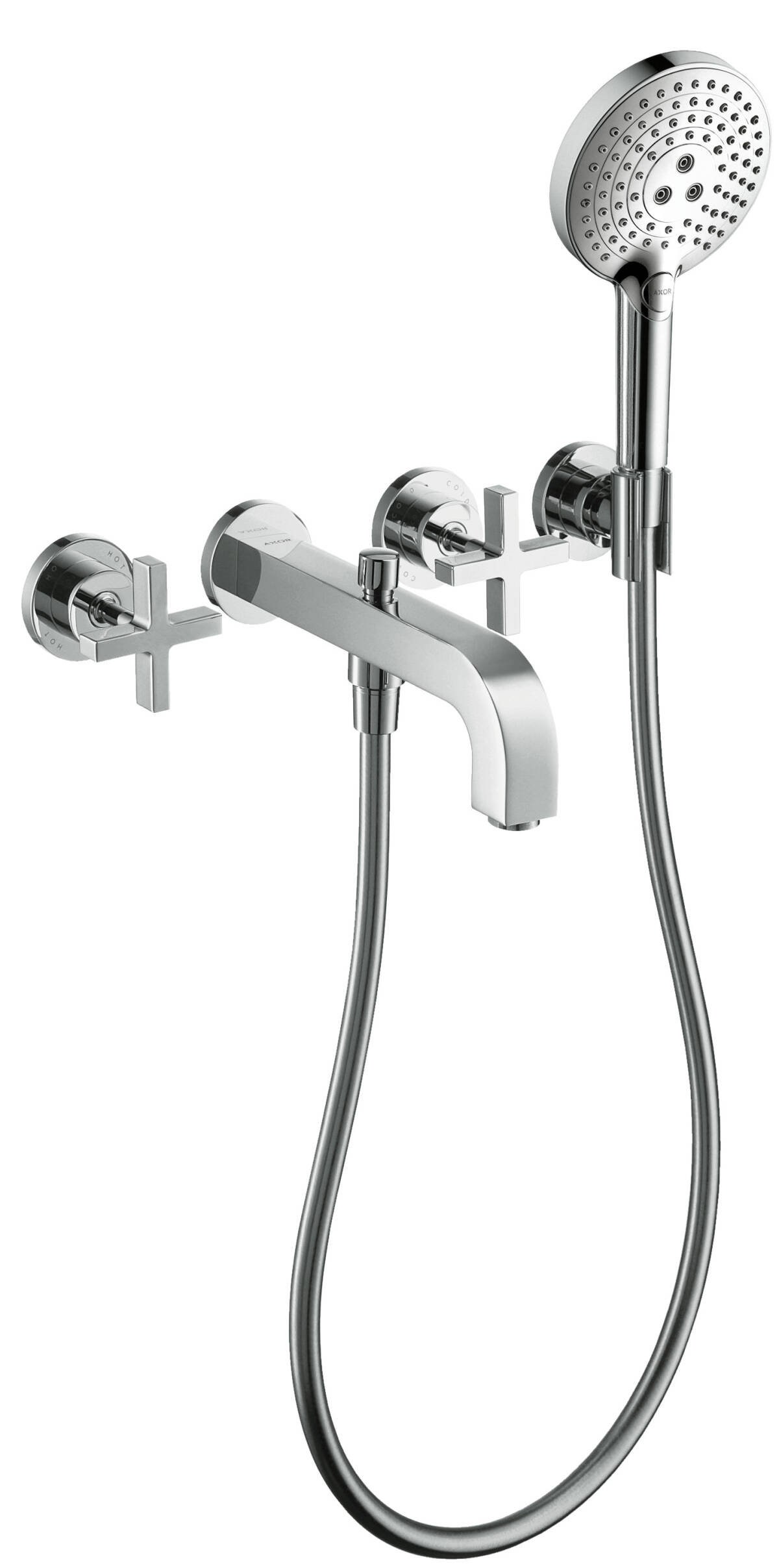 3-hole bath mixer for concealed installation wall-mounted with cross handles and escutcheons, Polished Red Gold, 39447300