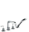 4-hole rim mounted bath mixer with lever handles and escutcheons