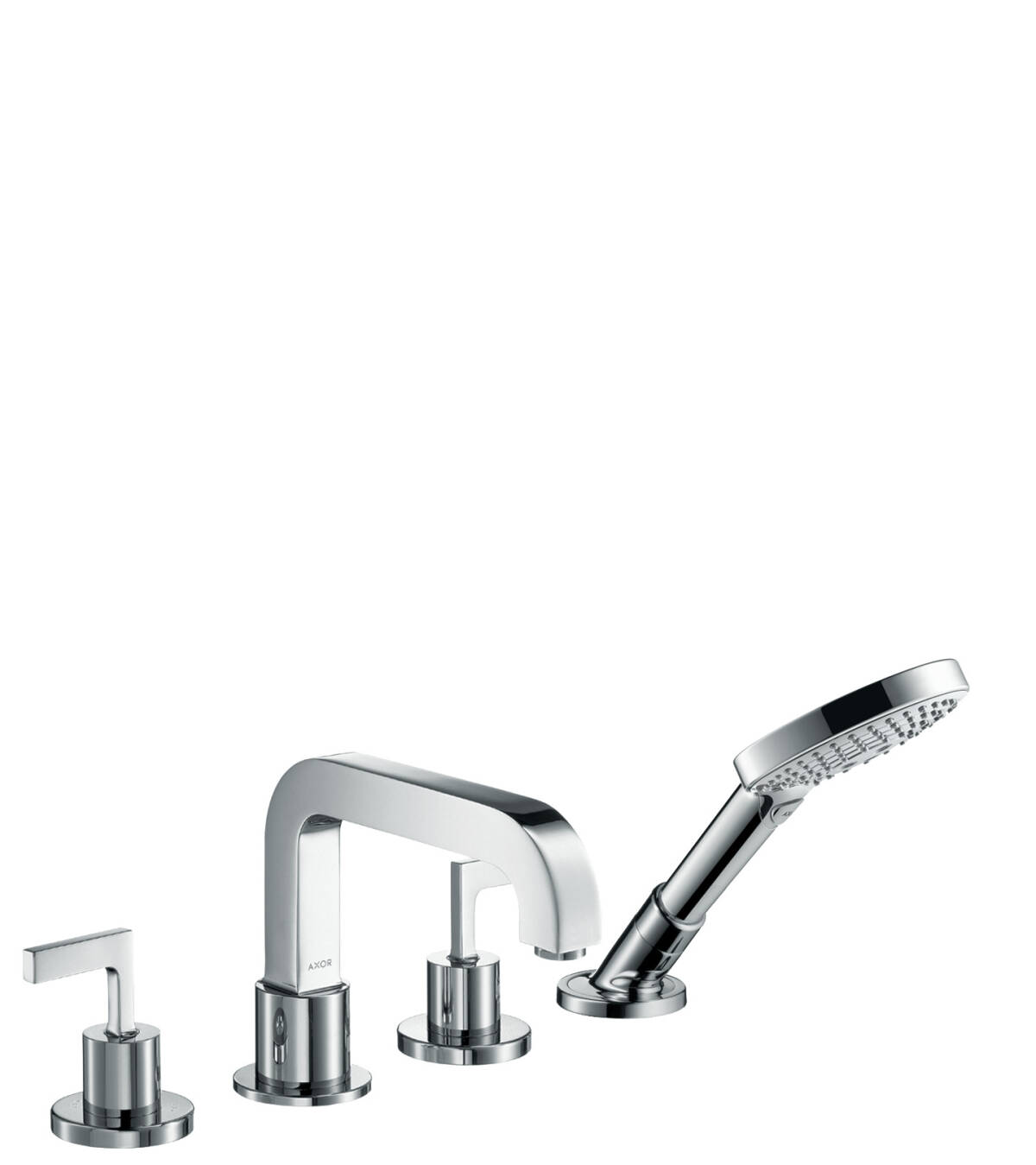 4-hole rim mounted bath mixer with lever handles and escutcheons, Polished Black Chrome, 39454330