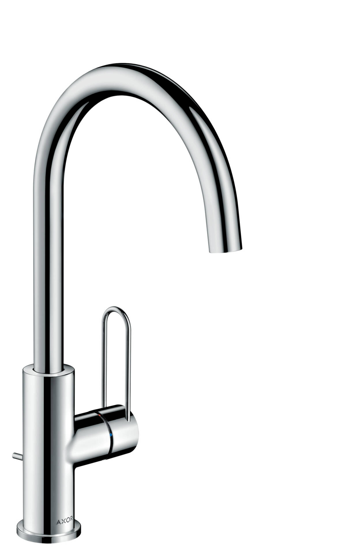Single lever basin mixer 240 with loop handle and pop-up waste set, Polished Black Chrome, 38036330