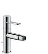 Single lever bidet mixer with loop handle and pop-up waste set