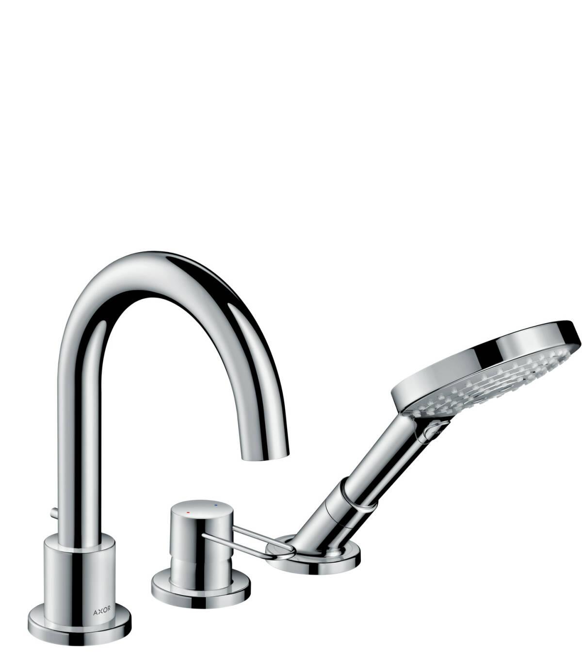 Grifería de 3 agujeros para montaje sobre borde de bañera con manecilla Loop, color oro pulido, 38436990