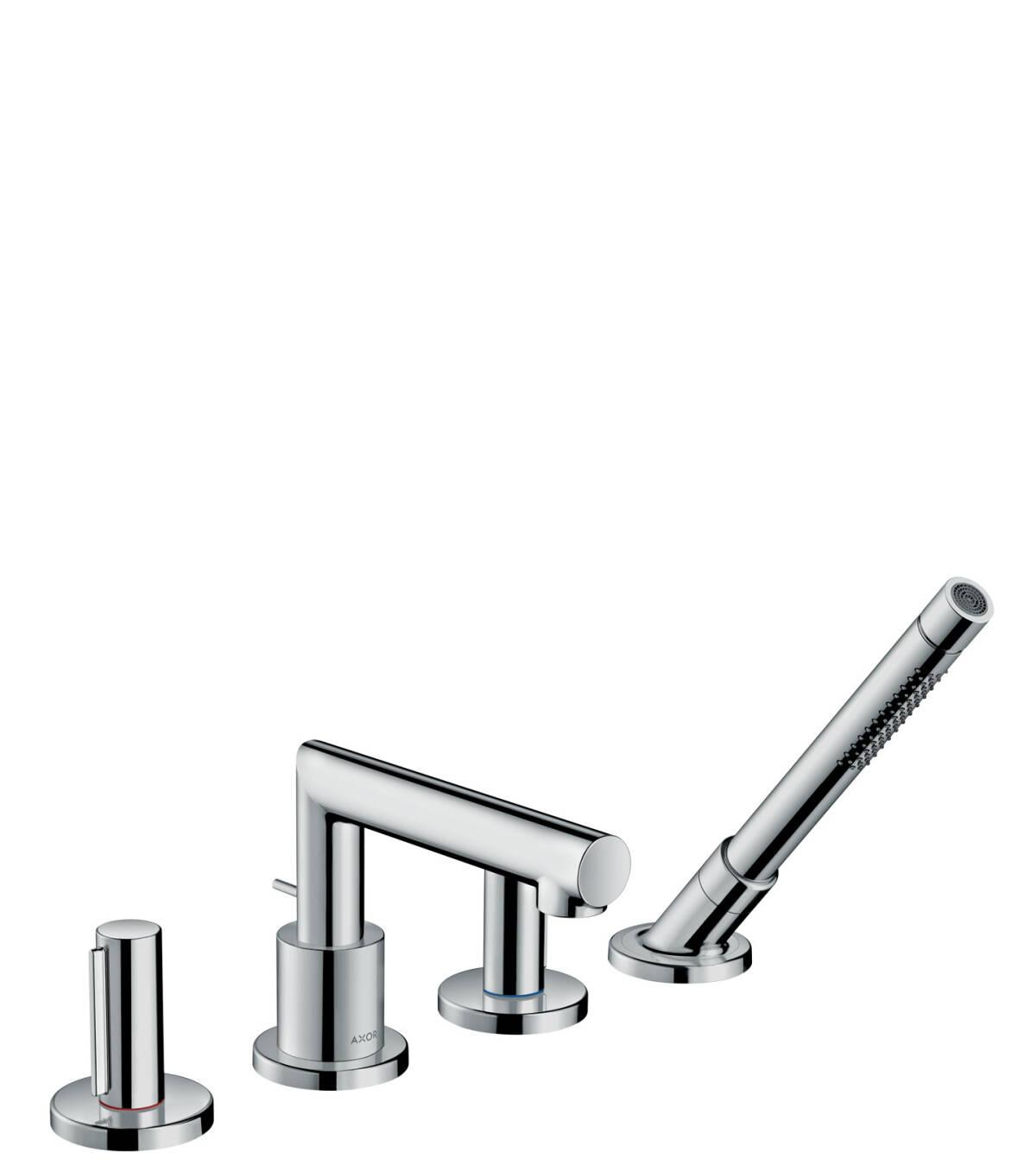 4-hole rim mounted bath mixer with zero handles, Chrome, 45444000