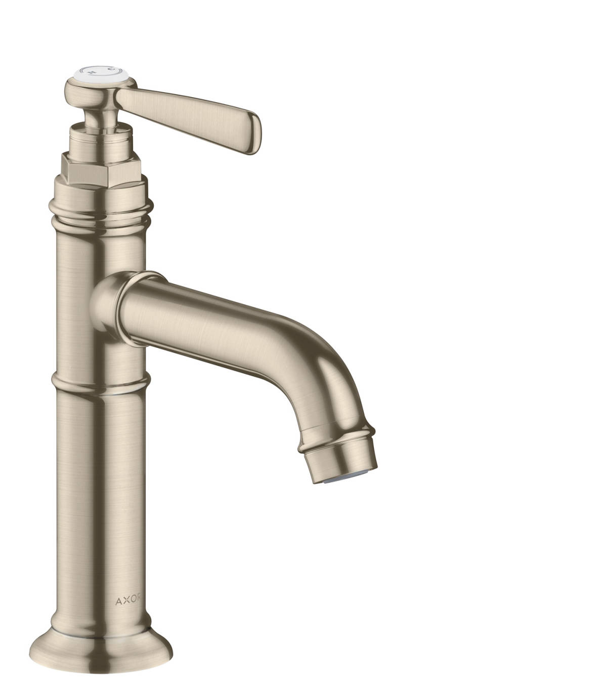 Single lever basin mixer 100 with lever handle and waste set, Brushed Nickel, 16516820
