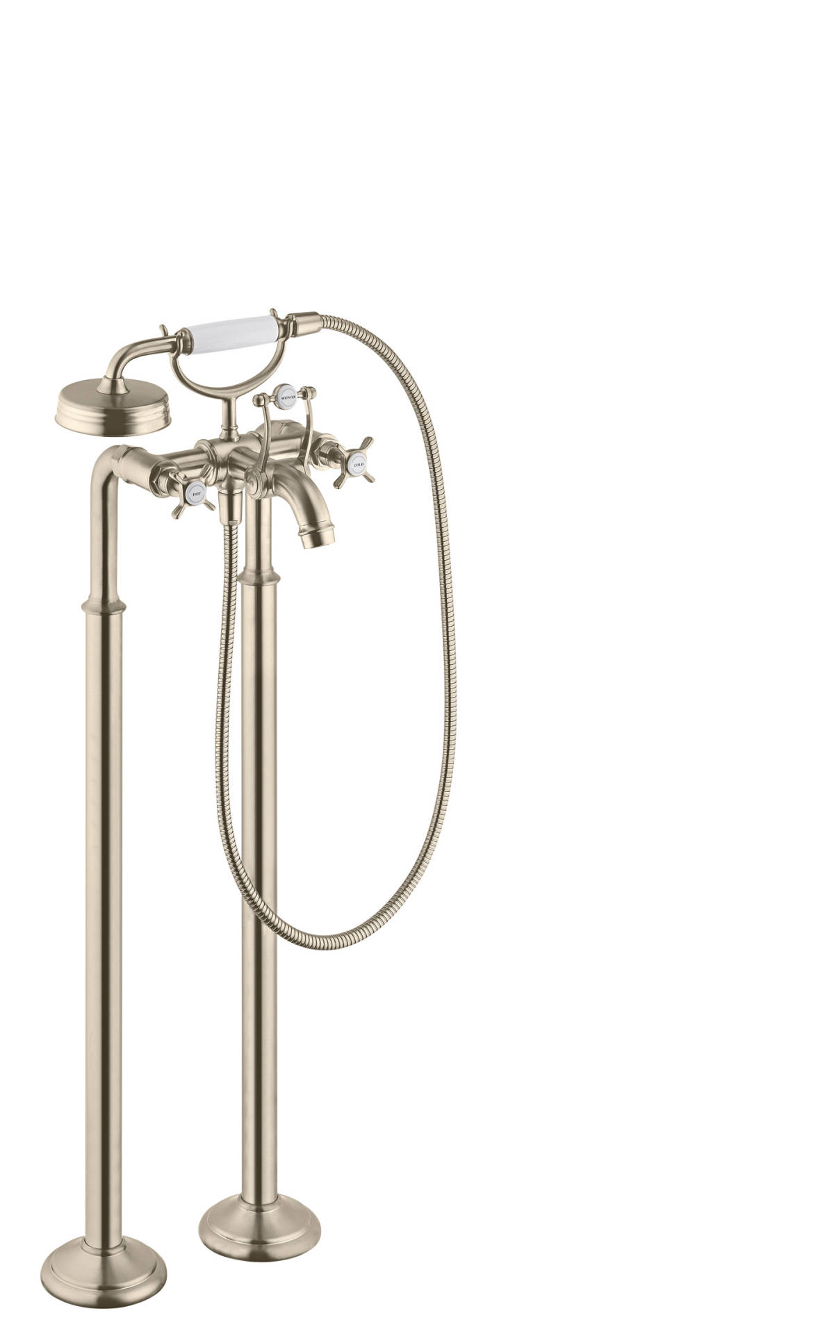 2-handle bath mixer floor-standing with cross handles, Brushed Nickel, 16547820