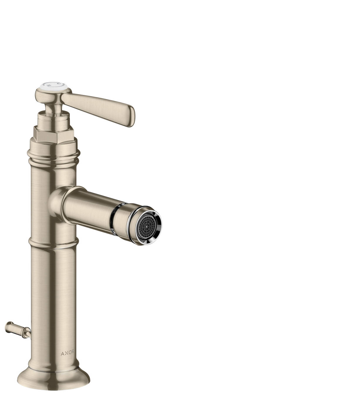 Single lever bidet mixer with lever handle and pop-up waste set, Brushed Nickel, 16526820