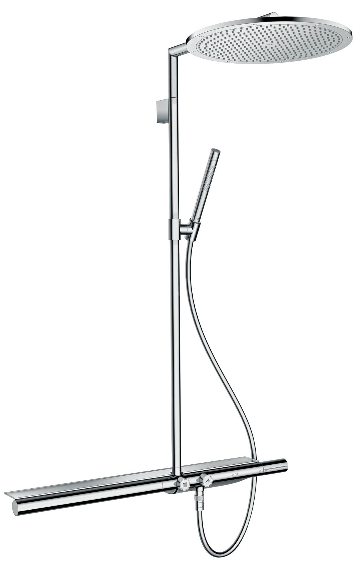 Showerpipe with thermostat 800 and overhead shower 350 1jet, Brushed Gold Optic, 27984250