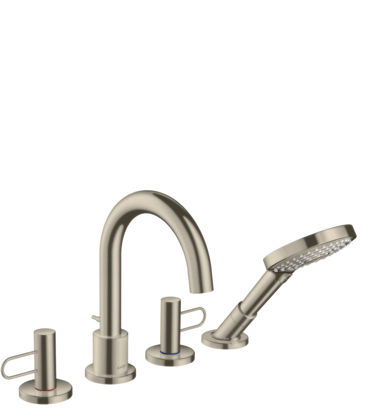 4-hole rim mounted bath mixer loop handle, Brushed Nickel, 38445820