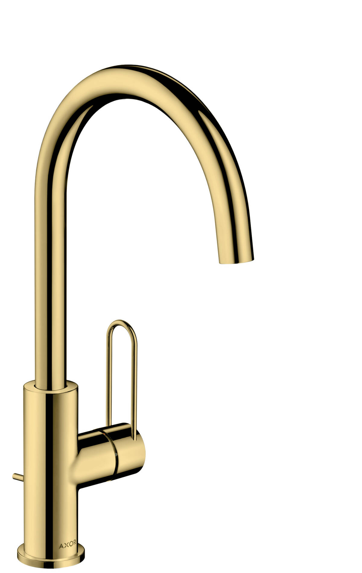 Single lever basin mixer 240 with loop handle and pop-up waste set, Polished Brass, 38036930
