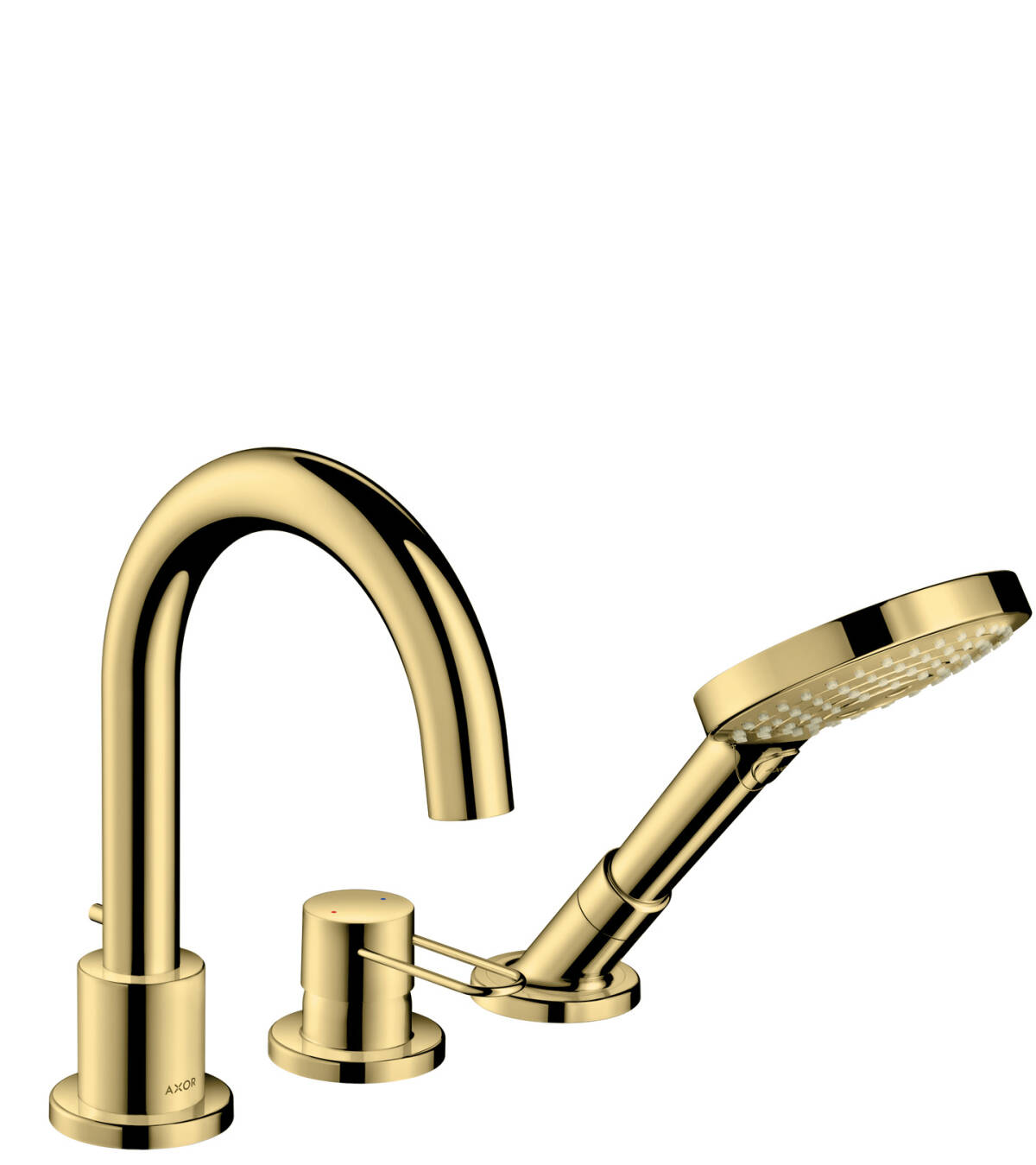 3-hole rim mounted bath mixer with loop handle, Polished Brass, 38436930