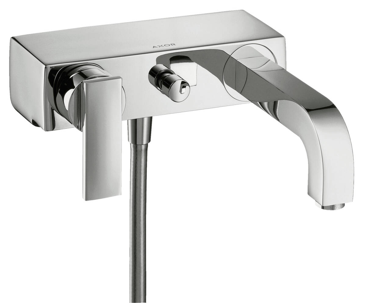 Single lever bath mixer for exposed installation with lever handle, Brushed Black Chrome, 39400340