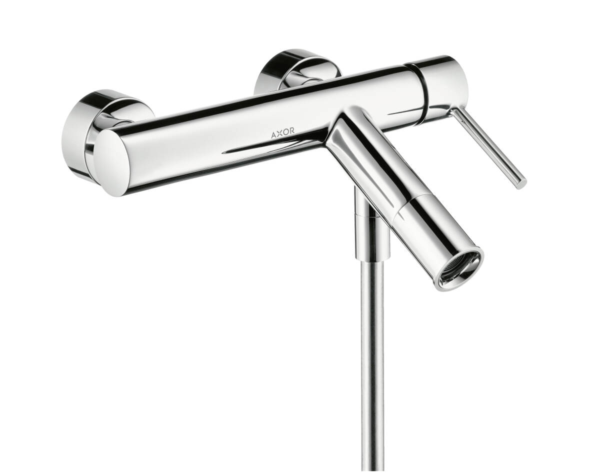 Single lever bath mixer for exposed installation with pin handle, Chrome, 10411000