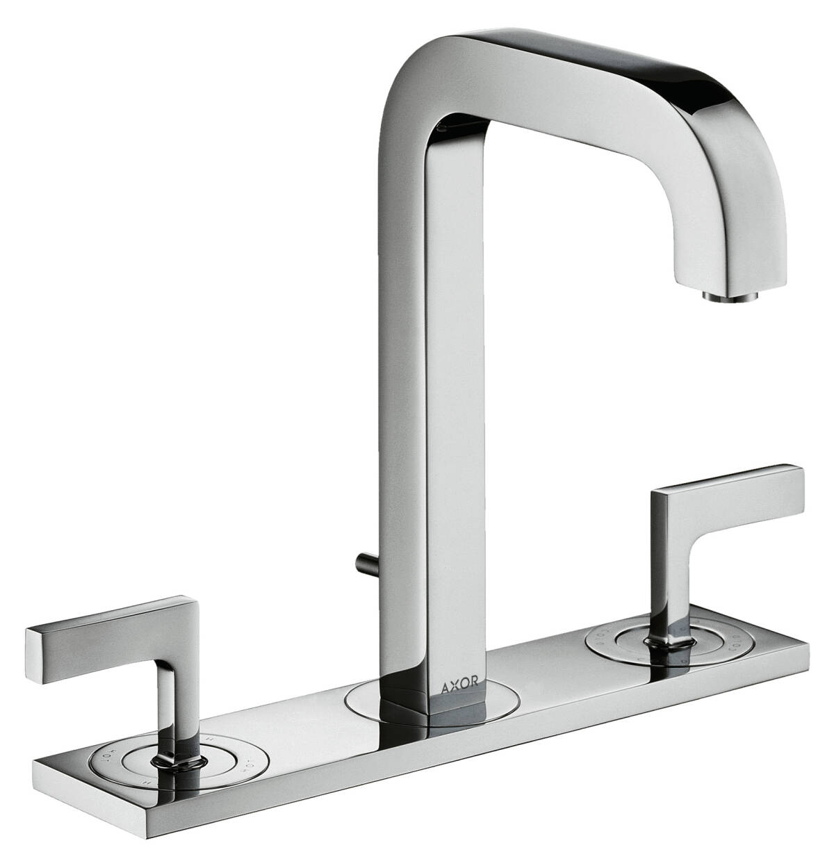 3-hole basin mixer 170 with spout 140 mm, lever handles, plate and pop-up waste set, Brushed Chrome, 39136260