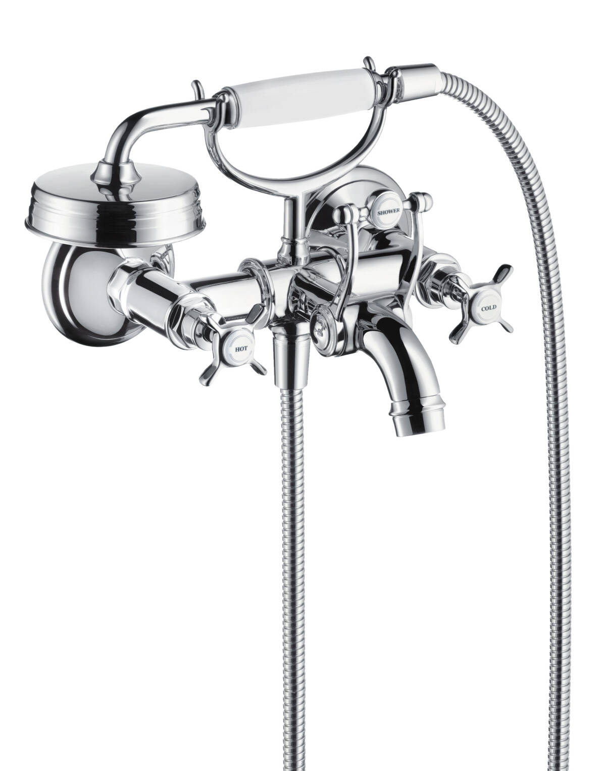 2-handle bath mixer for exposed installation with cross handles, Chrome, 16540000