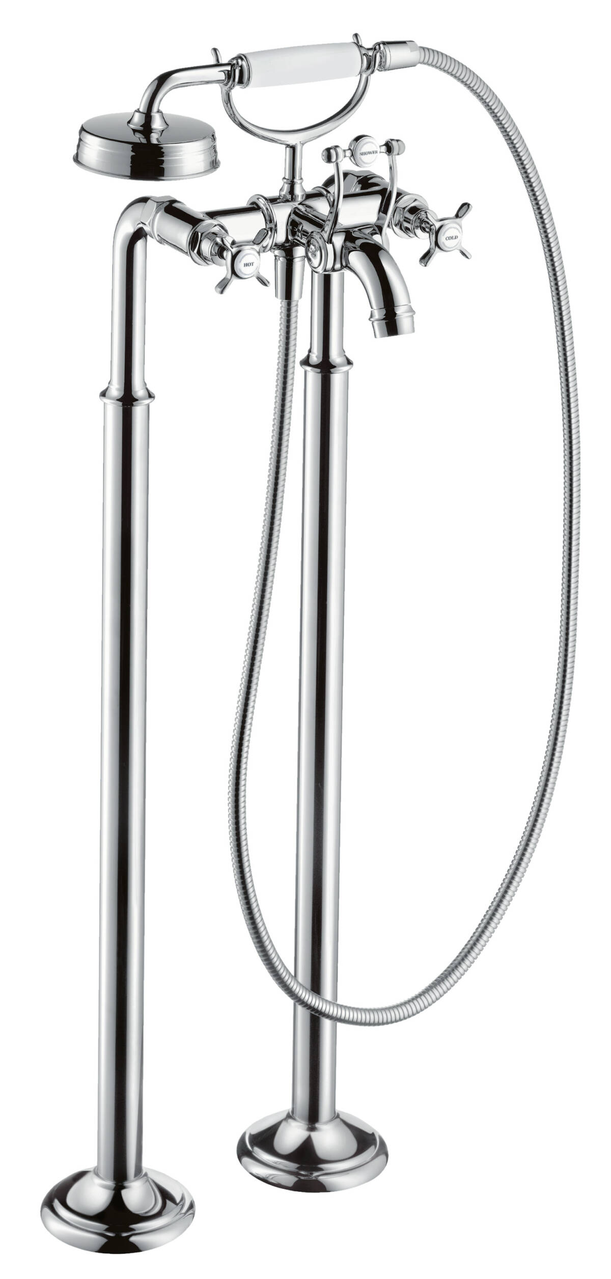 2-handle bath mixer floor-standing with cross handles, Stainless Steel Optic, 16547800