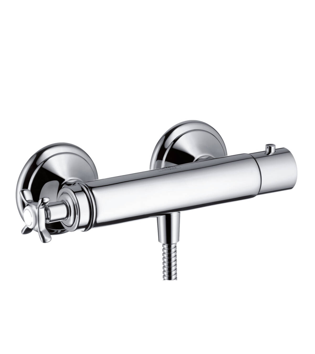 Shower thermostat for exposed installation with cross handle, Polished Black Chrome, 16261330