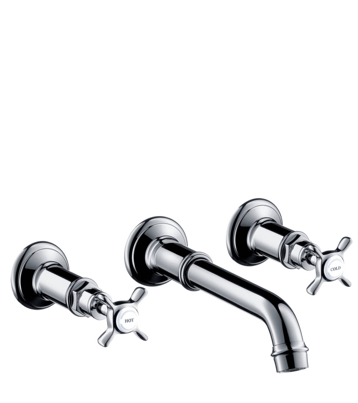 3-hole basin mixer for concealed installation wall-mounted with spout 165 - 225 mm and cross handles, Chrome, 16532000