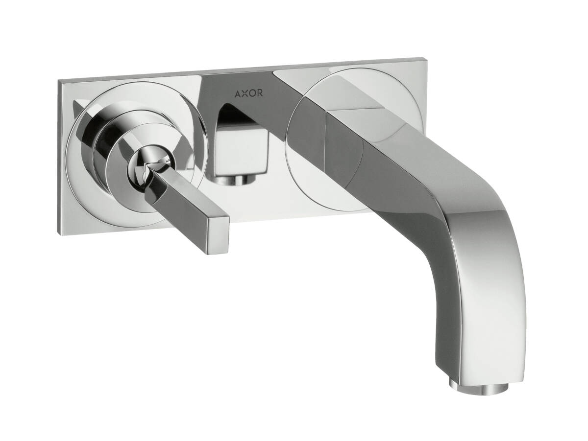Single lever basin mixer for concealed installation wall-mounted with pin handle, spout 160 mm and plate, Brushed Brass, 39112950
