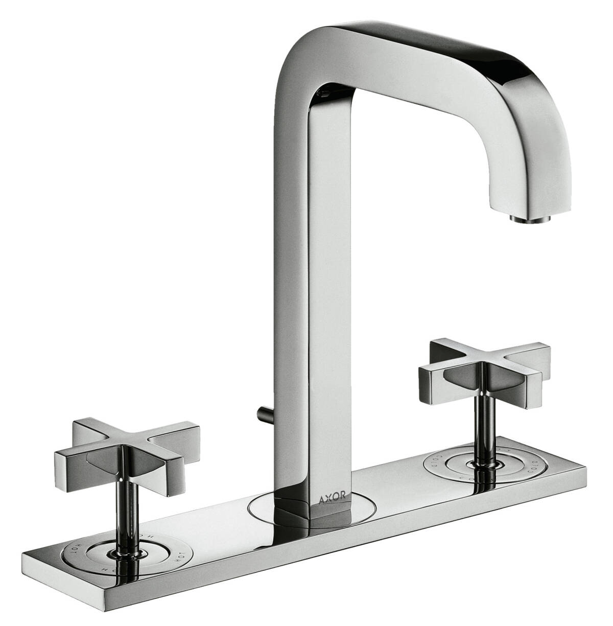 3-hole basin mixer 170 with spout 140 mm, cross handles, plate and pop-up waste set, Brushed Bronze, 39134140