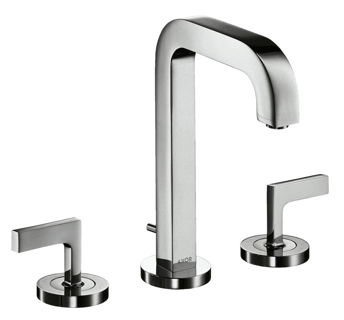 3-hole basin mixer 170 with spout 140 mm, lever handles, escutcheons and pop-up waste set, Brushed Black Chrome, 39135340