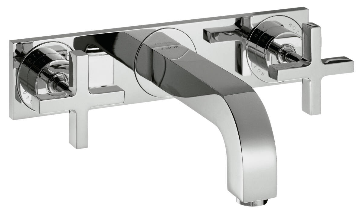 3-hole basin mixer for concealed installation wall-mounted with spout 166 mm, cross handles and plate, Chrome, 39314000
