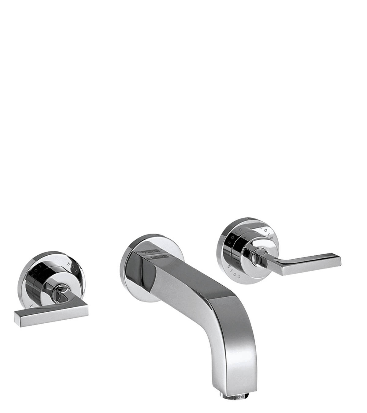 3-hole basin mixer for concealed installation wall-mounted with spout 162 mm, lever handles and escutcheons, Chrome, 39315000