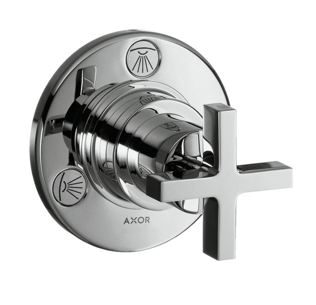Shut-off/ diverter valve Trio/ Quattro for concealed installation with cross handle, Chrome, 39925000