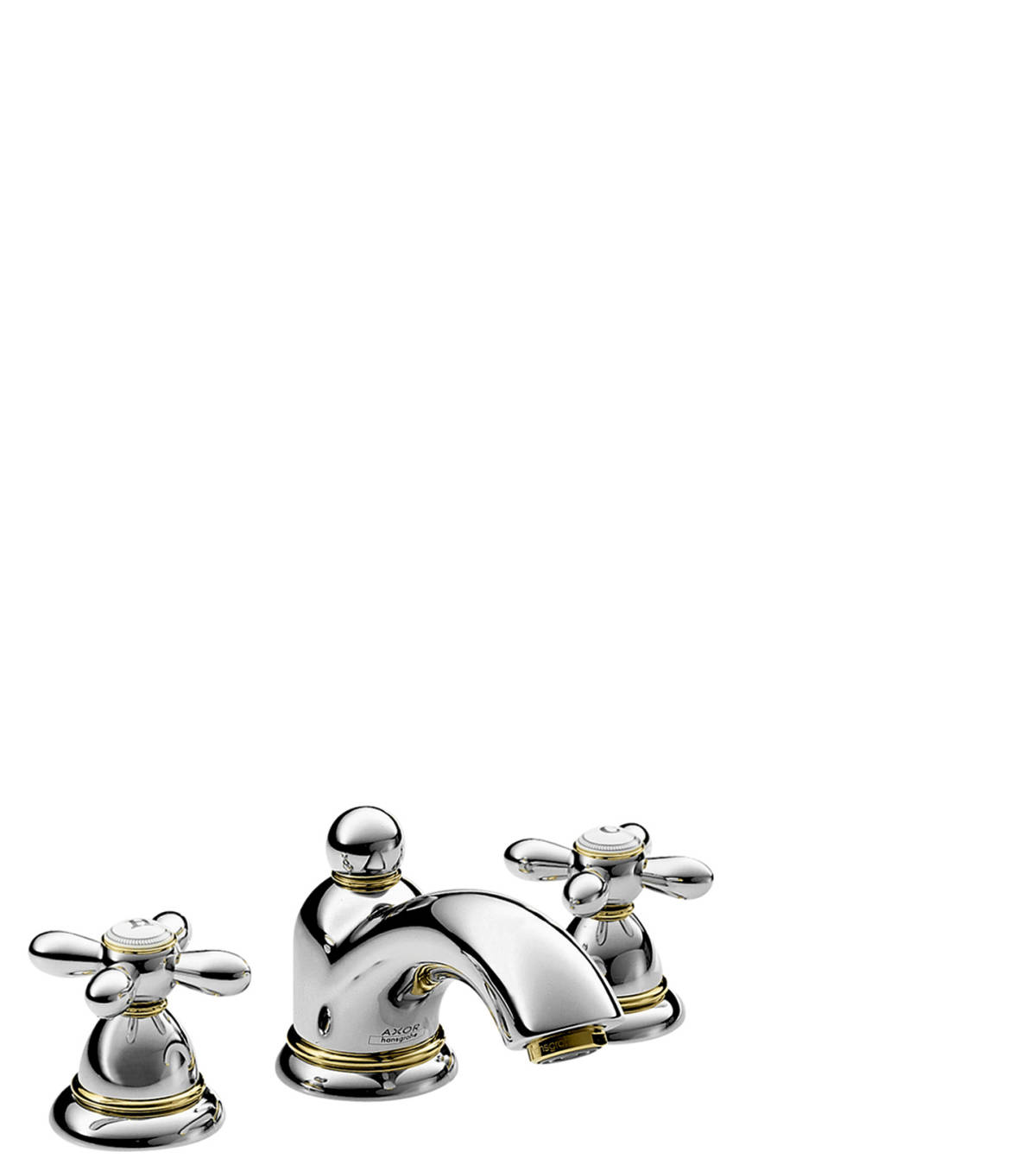 3-hole basin mixer 50 with pop-up waste set and cross handles, Chrome, 17133000