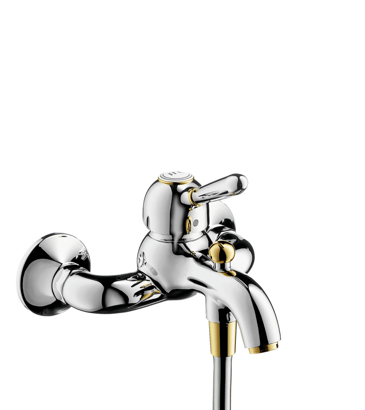Single lever bath mixer for exposed installation, Brushed Gold Optic, 17410250