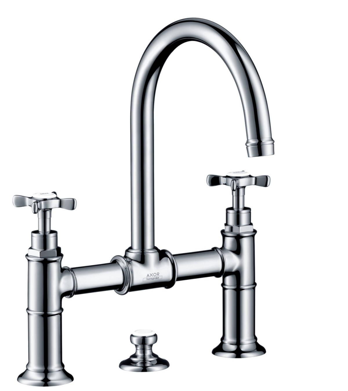 2-handle basin mixer 220 with cross handles and pop-up waste set, Chrome, 16510000