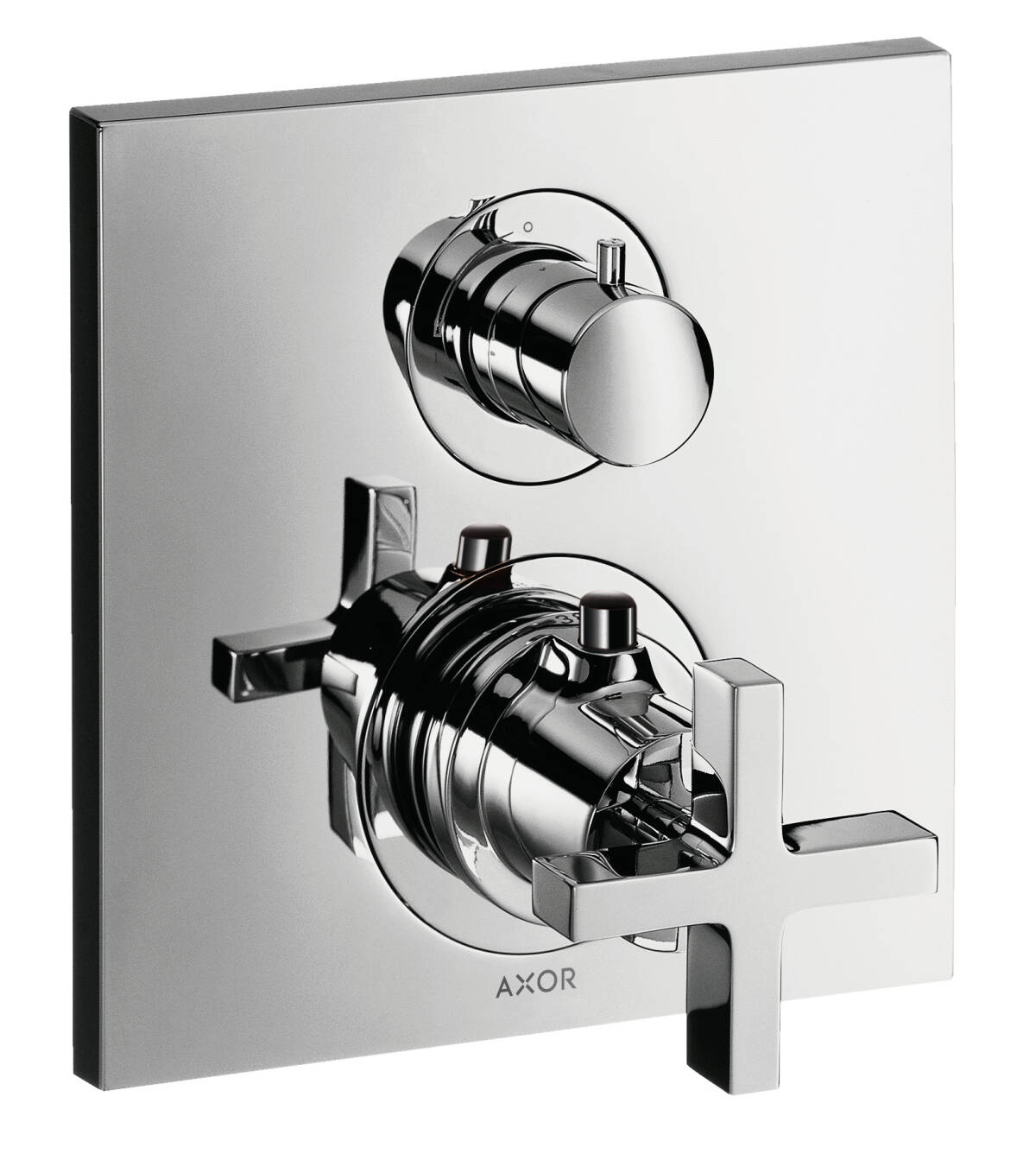 Thermostat for concealed installation with shut-off valve and cross handle, Brushed Black Chrome, 39705340
