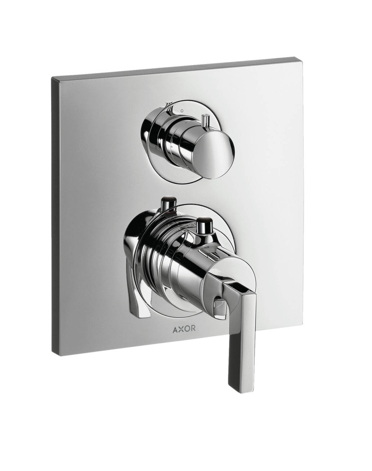 Thermostat for concealed installation with shut-off valve and lever handle, Chrome, 39700000