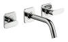 3-hole basin mixer for concealed installation with spout 166 mm, lever handles and escutcheons wall-mounted