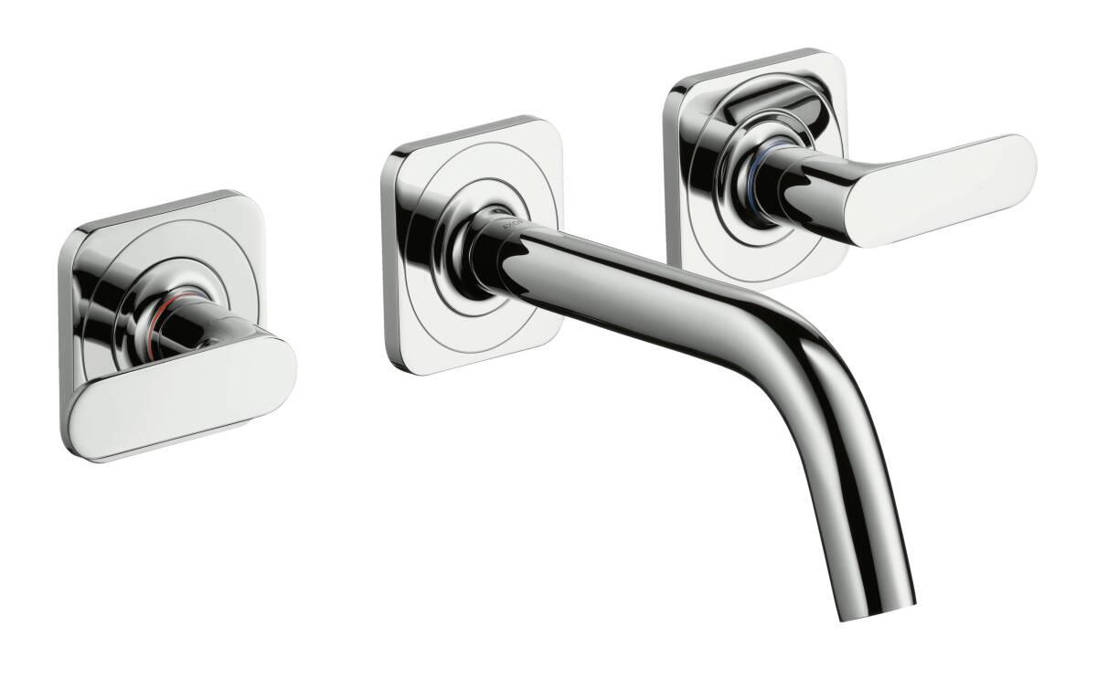 Grifería de lavabo empotrada de 3 agujeros con caño 166 mm con manecillas de palanca, latón cepillado, 34313950